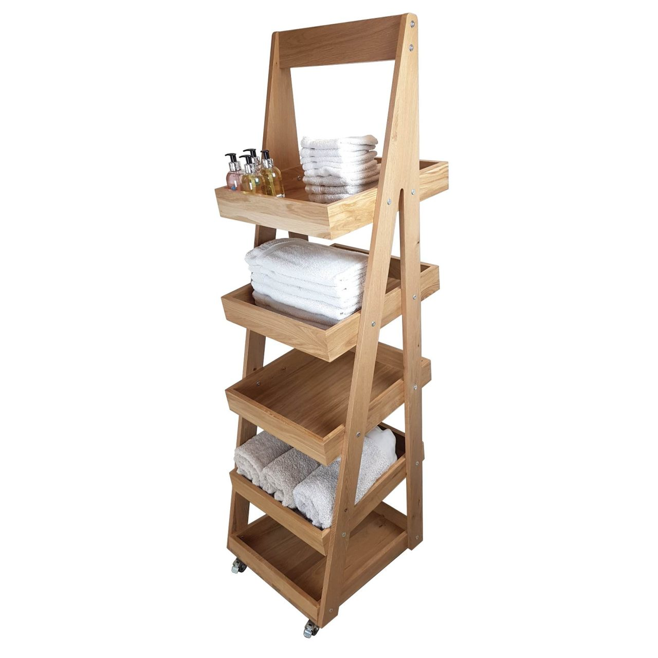 Mobile 5 Tier Slanted Oak A Frame Display Stand