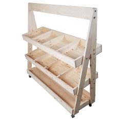 Mobile Natural Rustic Pine 3-Tier Slanted Merchandiser Display Stand 1190x370x1145