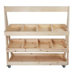 Mobile Natural Rustic Pine 3-Tier Slanted Merchandiser Display Stand 1190x370x1145 front view