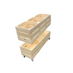 Natural Rustic 3 Bin Impulse Merchandise Paddock Display Stand 900x300x600 split in two halfs