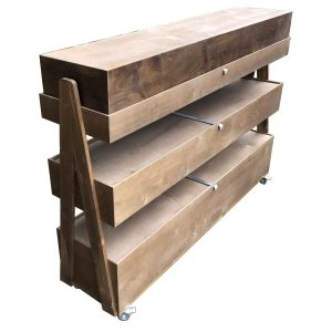 Rustic Brown Mobile Rustic Albert 3-Tier Impulse Queue Divider Display Stand 1561x360x1065 with lids