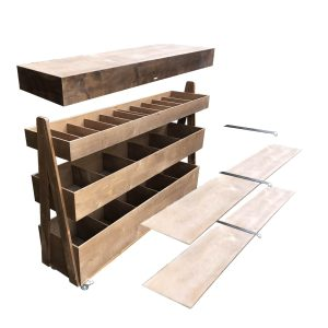 Rustic Brown Mobile Rustic Albert 3-Tier Impulse Queue Divider Display Stand 1500x360x1065 with lids exploded