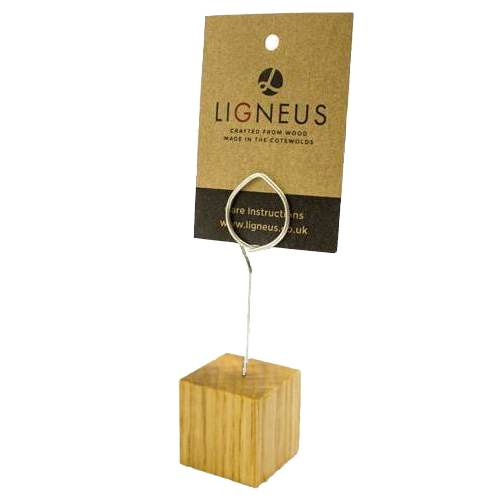oak cube ticket holder with coiled ring 30x30x30