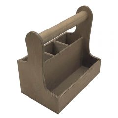 rustic brown cutlery & condiment caddy 280x165x255