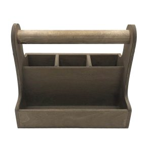 rustic brown cutlery & condiment caddy 280x165x255 front view