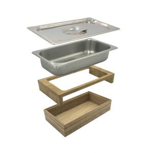B1-3 Lacquered Ribbed Oak Trolley Stacker box 398x212x80 with gastronorm riser gastronorm and lid exploded