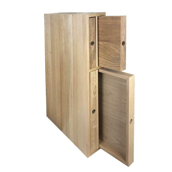 Oak double chopping board and tray unit 118x411x688 in situ O&B