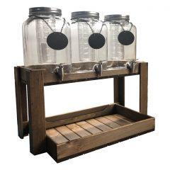 Rustic Brown Rustic Slatted Beverage Station 645x370x345 with jars