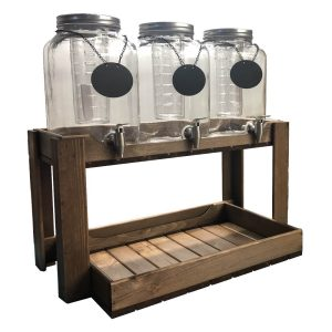 Rustic Brown Rustic Slatted Beverage Station 645x370x345 with jars