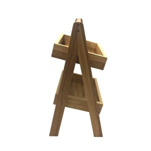 2-Tier Slanted Oak A-Frame Display Stand 316x250x500 side view