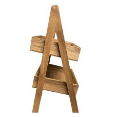 2-Tier Slanted Oak A-Frame Display Stand 410x310x650 side view