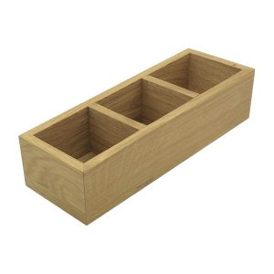 3 Compartment Oak Condiment Holder 340x120x80