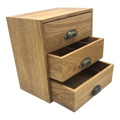 3-Tier 9 compartment oak Tea chest 363x233x382 drawers open