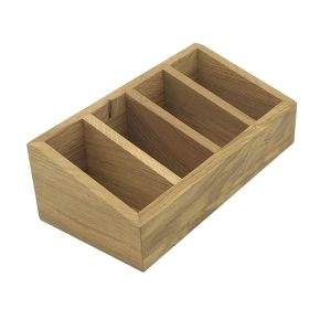 4 Compartment Slanted Oak Condiment Holder 300x150x100