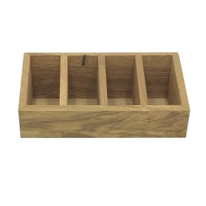 4 Compartment Slanted Oak Condiment Holder 300x150x100 front view