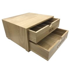 B2-3 Oak Tea and coffee Station 424x398x244 drawers open tea and coffee