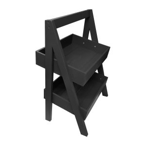 Black Painted 2-Tier Slanted Wooden A-Frame Display Stand 410x310x650