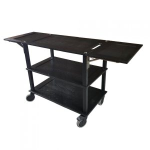 Burford Long Black Oak Drop Leaf Hospitality Trolley side view