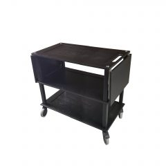 Burford Long Black Oak Drop Leaf Hospitality Trolley with sides down