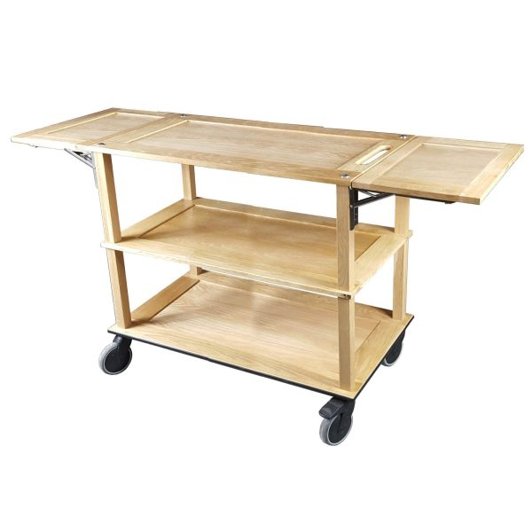 Burford Long Natural Oak Drop Leaf Hospitality Trolley side view
