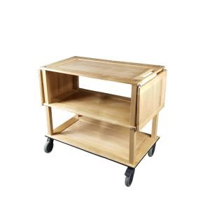 Burford Long Natural Oak Drop Leaf Hospitality Trolley with sides down