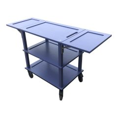 Kingscote Blue Burford Painted Oak Drop Leaf Hospitality Trolley 805-1460x558x855