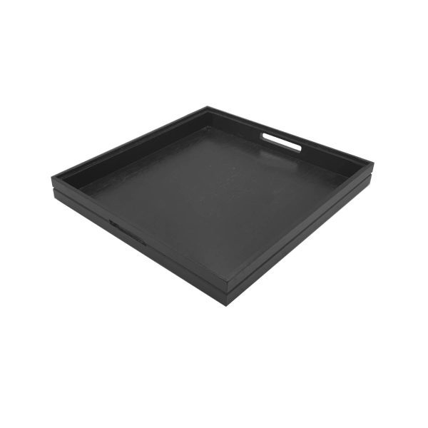 B2/3 Ribbed Black Oak Trolley Stacker Handle Tray 425x398x40