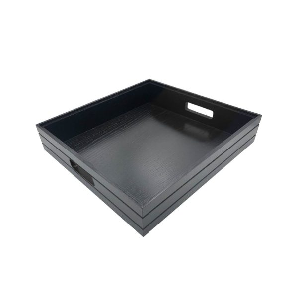 B2/3 Ribbed Black Oak Trolley Stacker Handle Tray 425x398x80