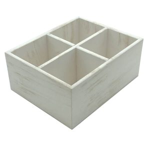 White Distressed White Distressed Painted 4 Compartment Ply Cutlery & Condiment Holder 260x207x110