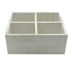 White Distressed Painted Ply Cutlery and Condiment Holder 260x207x110 side view