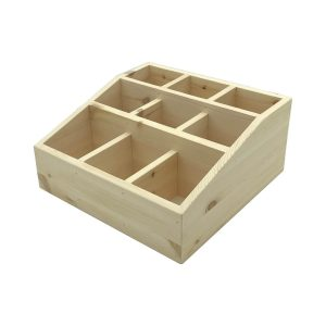 Natural Pine 3 tier 9 compartment cutlery & condiment holder