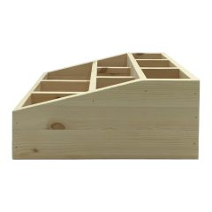 Natural Pine 3 tier 9 compartment cutlery & condiment holder side view
