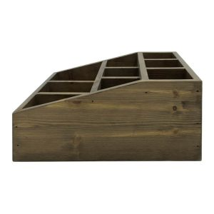 Rustic Brown Pine 3 tier 9 compartment cutlery & condiment holder side view