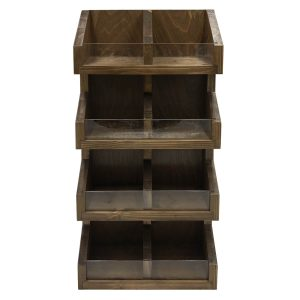 Rustic Brown Pine 4 tier 7 compartment Display Stand 300x235x600 front view