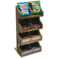 Rustic Brown Pine 4 tier 7 compartment Display Stand 300x235x600 with product