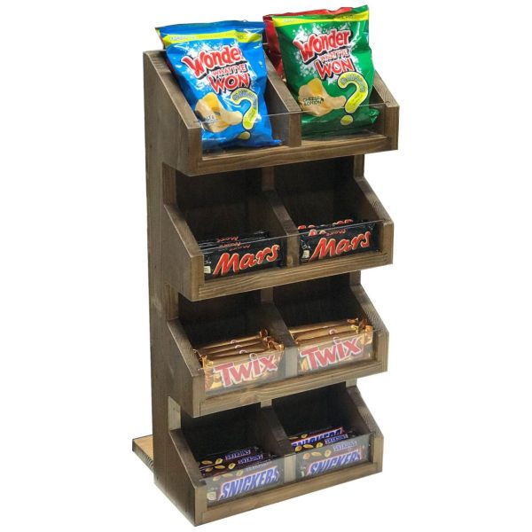 Rustic Brown Pine 4 tier 8 compartment Display Stand 300x235x600 with product