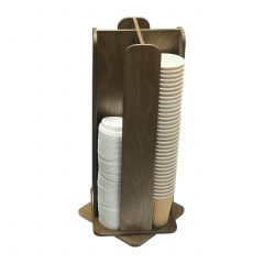 Rustic Brown Ply 4 Compartment Rotating Cup & Lid Holder 230x230x554 with cups and lids