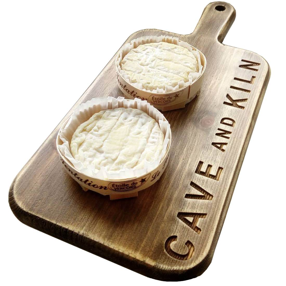 small cheese paddle board cave and kiln camembert