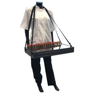 B1/1 Ribbed Black Oak Trolley Stacker Usherette Tray 636x398x80 on manequin