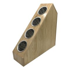 Oak 4-tier slanted cylindrical cutlery holder 520x160x505 with cutlery cylinders