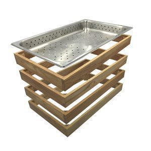 Oak GN1/1 Gastronorm Surround Riser 530x323x60 4 high with gastronorm exploded