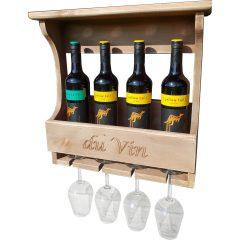 4 glass wall mounted rustic wine rack yellow tail wine