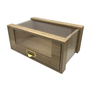 Single Oak Bread Bin with Viewing Panels & Ticket Handle 500x325x220