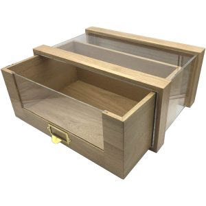 Oak Single Bread Bin 500x325x220 with viewing panels and brass ticket handle Drawer open
