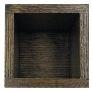 Dark Brown Oak Cutlery and Straw Holder 110x110x145 top view