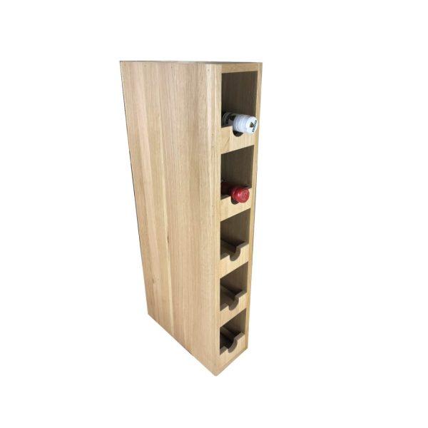 Handmade Oak Single 5 bottle wine rack 118x288x688 with wine