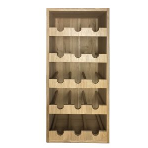 Oak 3x5 15 bottle wine rack 318x288x688 front view