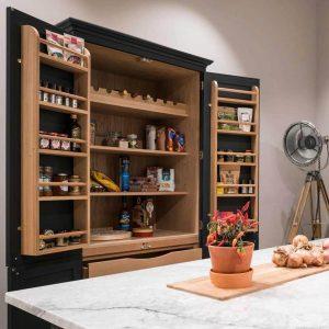 Oak Kitchen larder Shelf Rack 350x100x1129 in use