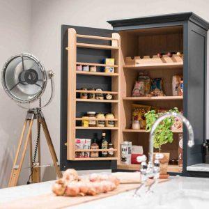 Oak Kitchen larder Shelf Rack 489x100x1129 in use
