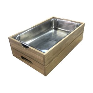 GN1/1 Gastronorm Oak Crate with integrated handle 560x353x175 with metal gastronorm